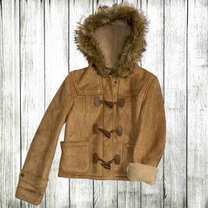 Tan faux suede coat w 'fur' collar Giacca Gallery